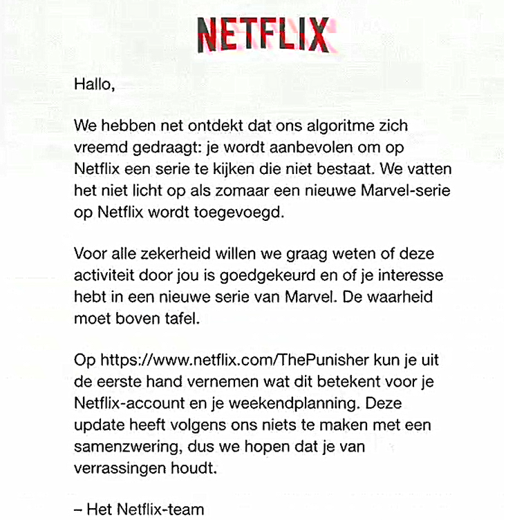 Tekst mail Netflix Punisher