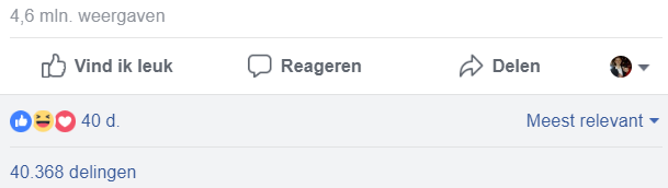 Statistieken relevante post facebook