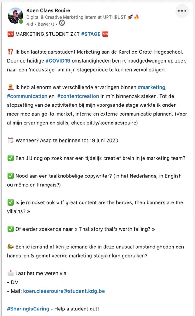 Post van Koen Claes Rouire op LinkedIn